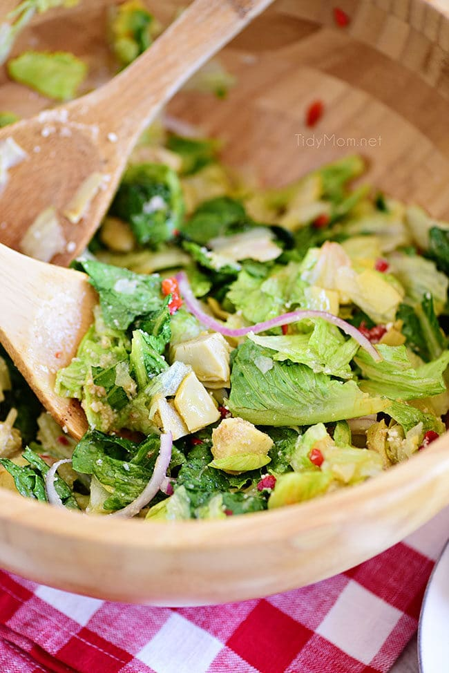 restaurant style Italian Salad in a wood bowl