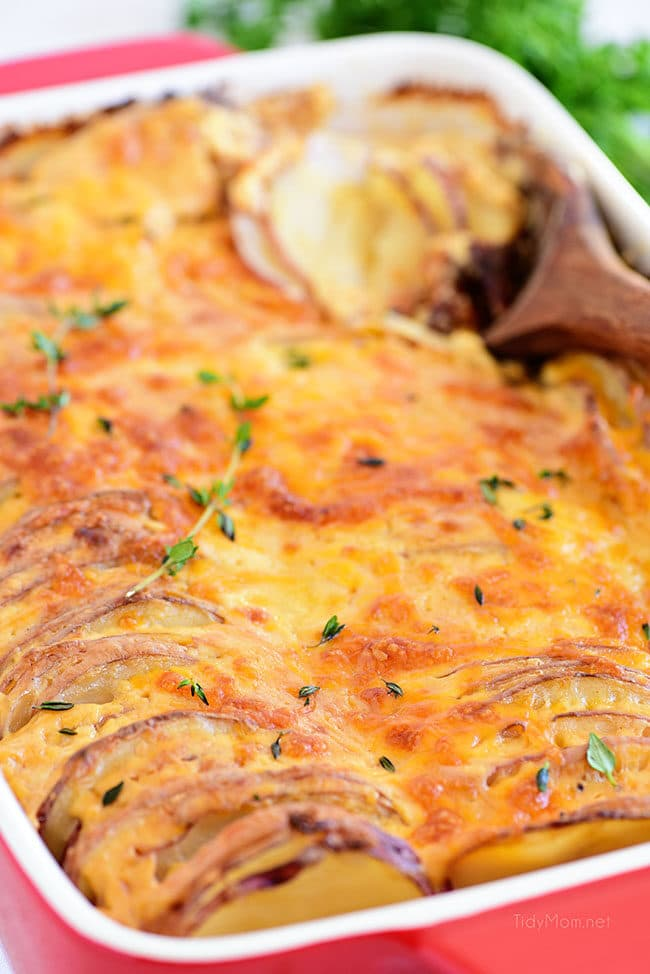 Potatoes au gratin in a red dish with a wooden spoon
