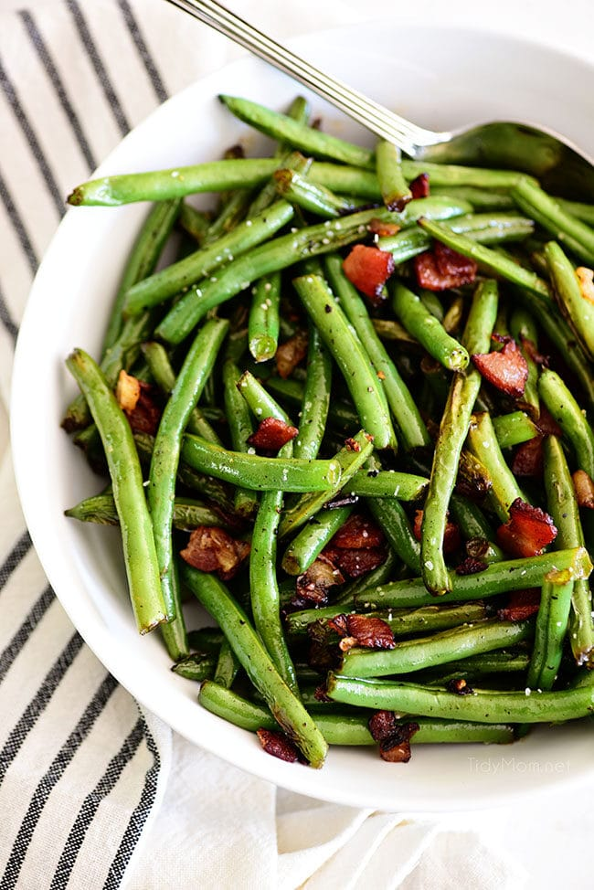 Sautéed Green Beans with bacon in a bowl