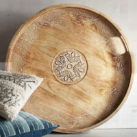 Large Courtland Brown Hand-Carved Round Tray