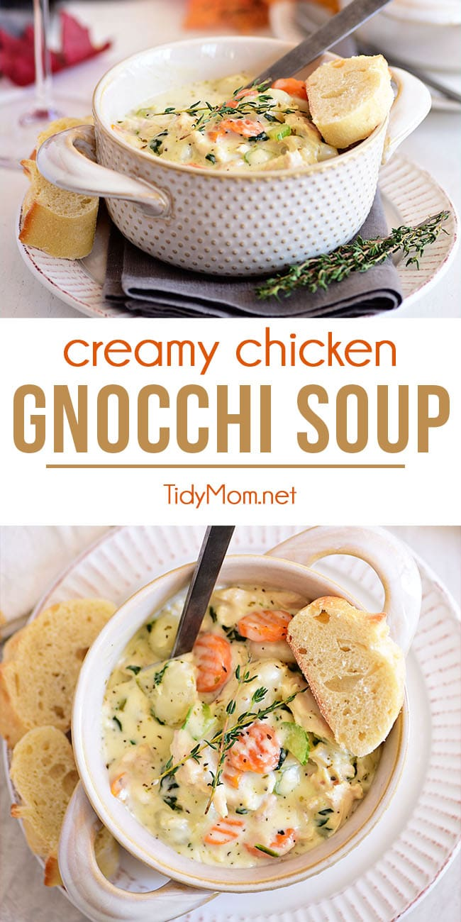 Chicken Gnocchi Soup is packed with chicken, potato gnocchi, and spinach bathing in a thick and creamy broth. A bowl of this hearty, chicken dumpling-like soup isn't required, but it's absolutely recommended. Print the full recipe at TidyMom.net #gnocchisoup #rotisseriechicken #quickdinner #soup #gnocchi #comfortfood #chickendinner #recipe