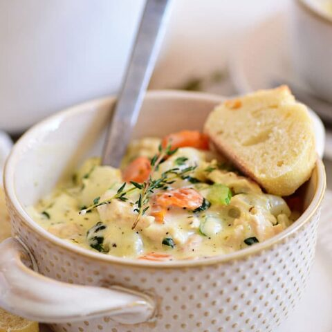 a bowl of hot chicken gnocchi soup