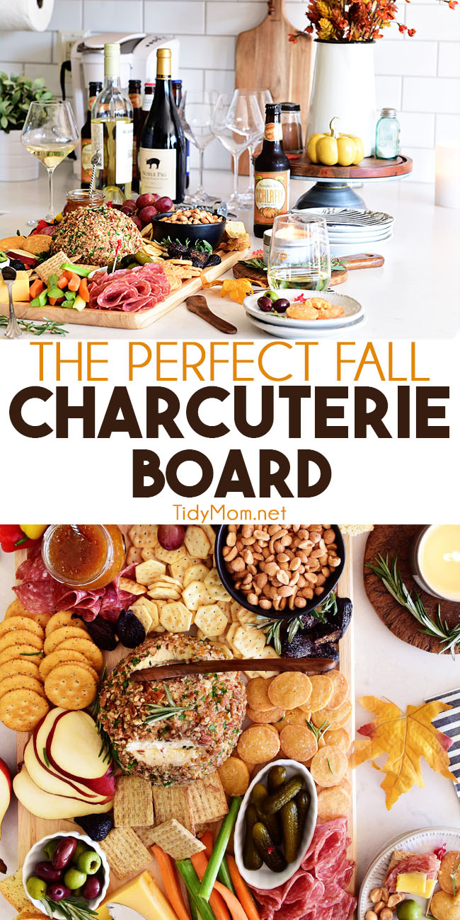 No gathering is complete without a spectacular charcuterie or cheese board. You'll impress your guests with this Perfect Fall Charcuterie Board that includes a Smoky Cheese Ball, Homemade Cheese Crisps, figs, nuts, pears and more. Get all the details at TidyMom.net #charcuterie #charcuterieboard #cheeseboard #holiday #entertaining #cheeseball #fall #fallrecipes #autumn #thanksgiving