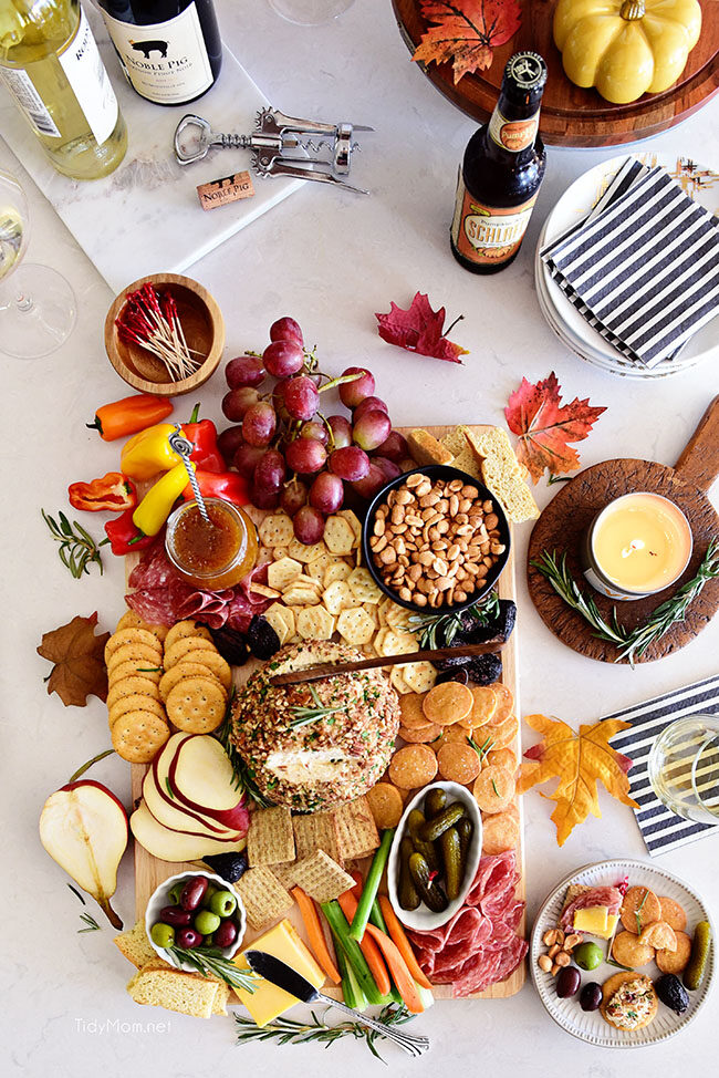 fall charcuterie with savory shortbread cheese crisps