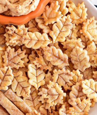 pie crust cookies on platter with pumpkin fluff dip