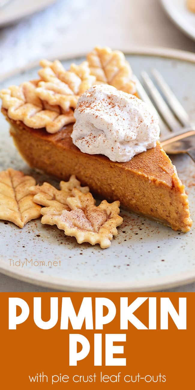 pumpkin pie with leaf cut-outs and cinnamon whipped cream