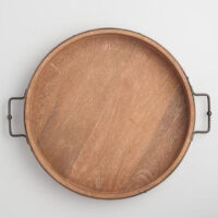 Round Rustic Wood Tray with Iron Handles
