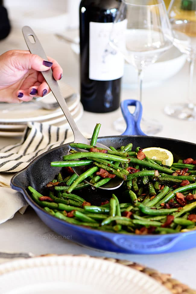 Sautéed Green Beans with bacon in a skillet