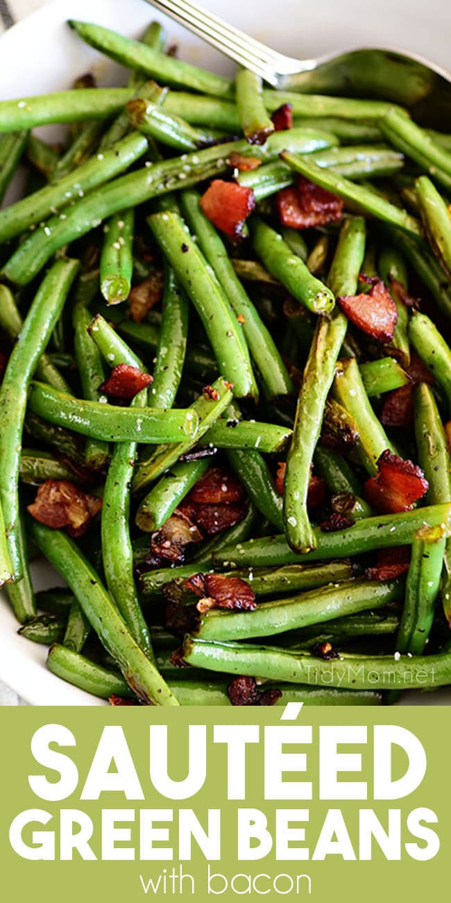close up of Sautéed green beans with bacon