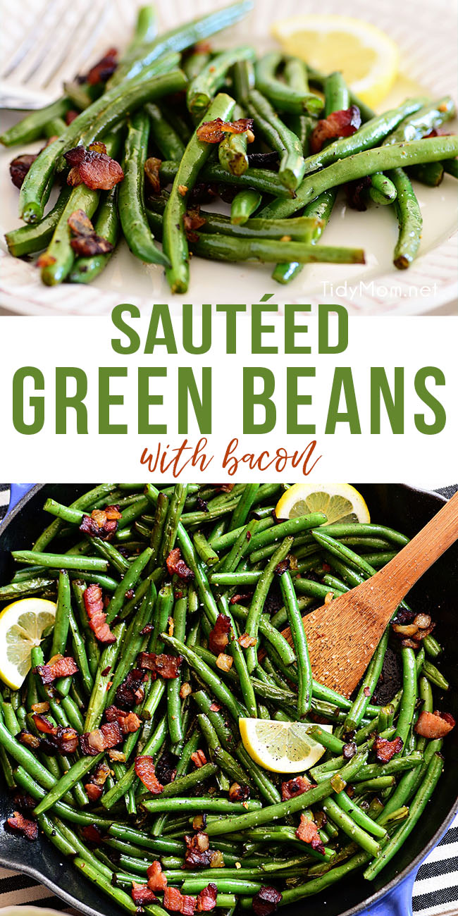 Sautéed Green Beans are full of flavor. Made with crispy bacon, minced garlic, and fresh green beans they are ready in 15 minutes, making it the perfect side dish for any weeknight dinner or a holiday meal. Printable recipe + how to video at TidyMom.net #greenbeans #sidedish #dinner #easy #bacon #garlic #thanksgiving #christmas #holiday #Easter #fresh #holidayrecipes #holidaysidedish