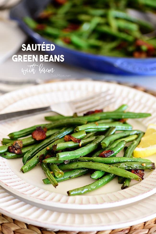 Sautéed Green Beans with bacon on a plate