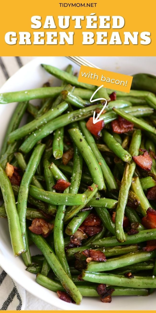 green beans with bacon in a white bowl