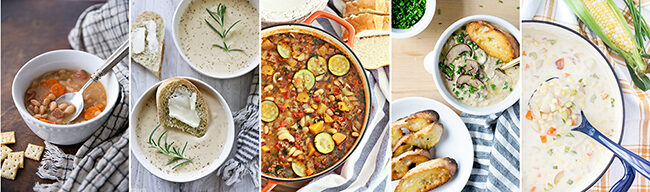 5 fall soups in bowls