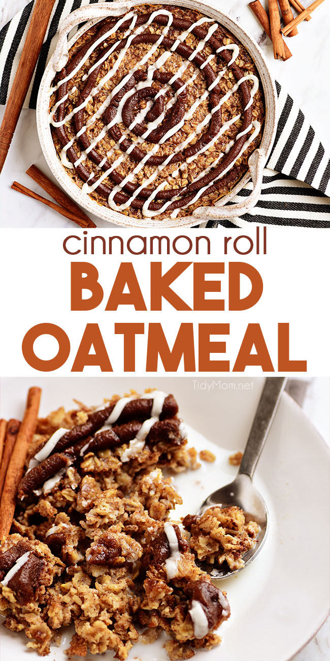 Cinnamon Roll Baked Oatmeal is topped with a sweet cinnamon drizzle and vanilla glaze. It tastes like a warm cinnamon roll's more healthful sister. Bake and enjoy it all week.Print the full recipe at TidyMom.net #oatmeal #bakedoatmeal #breakfast #cinnamonroll