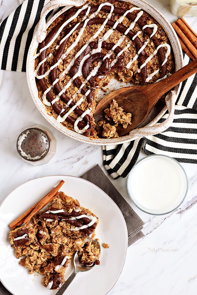 Cinnamon Roll Baked Oatmeal on plate
