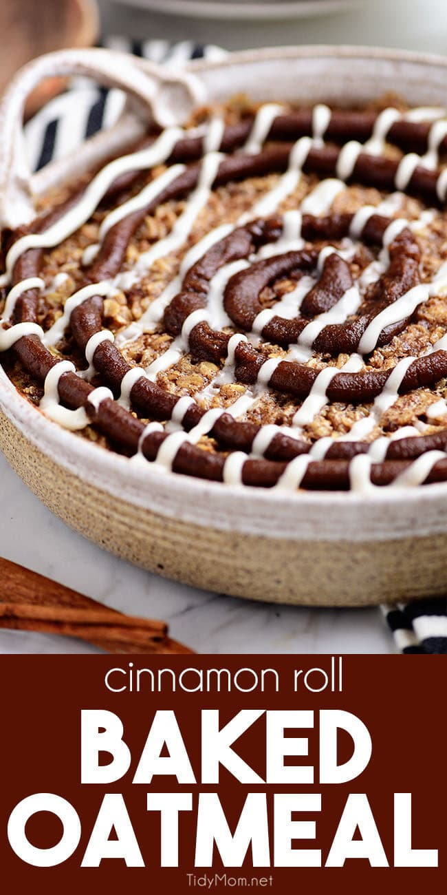 Cinnamon Roll Baked Oatmeal in round baker dish