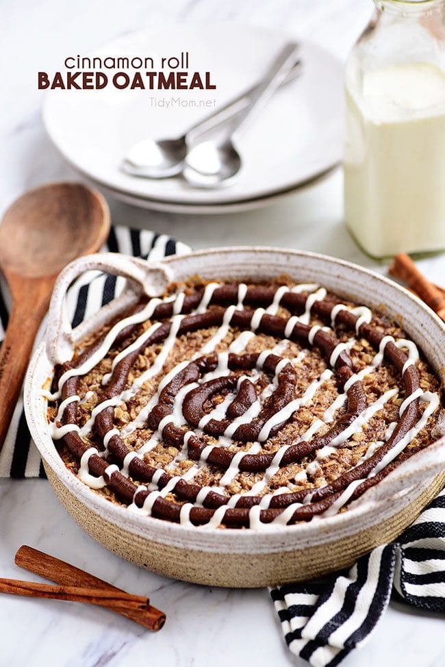 Cinnamon Roll Baked Oatmeal on table in round dish
