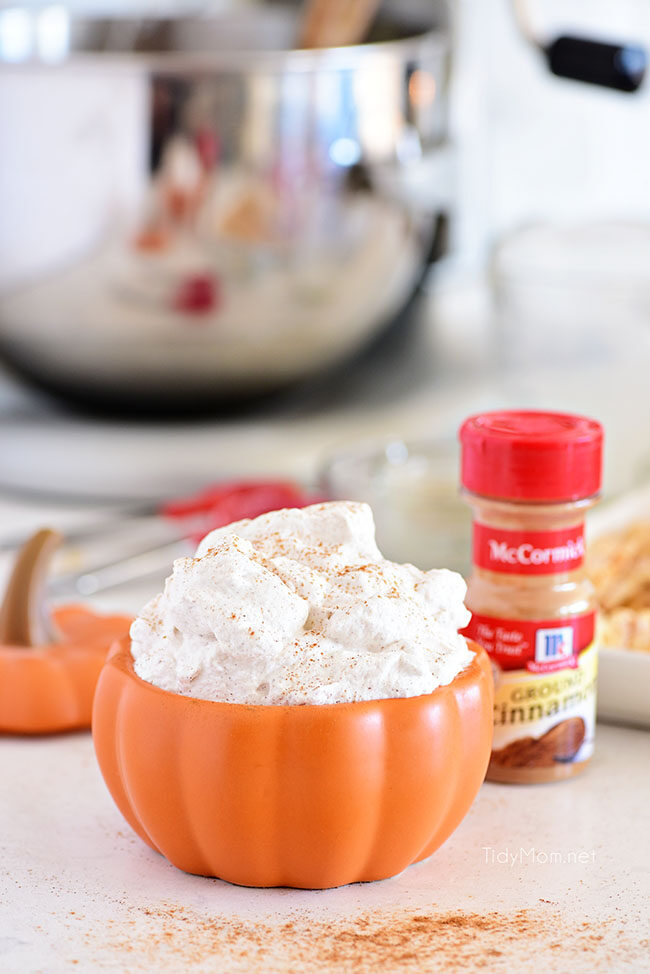 cinnamon whipped cream in a bowl