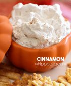 cinnamon whipped cream in orange bowl