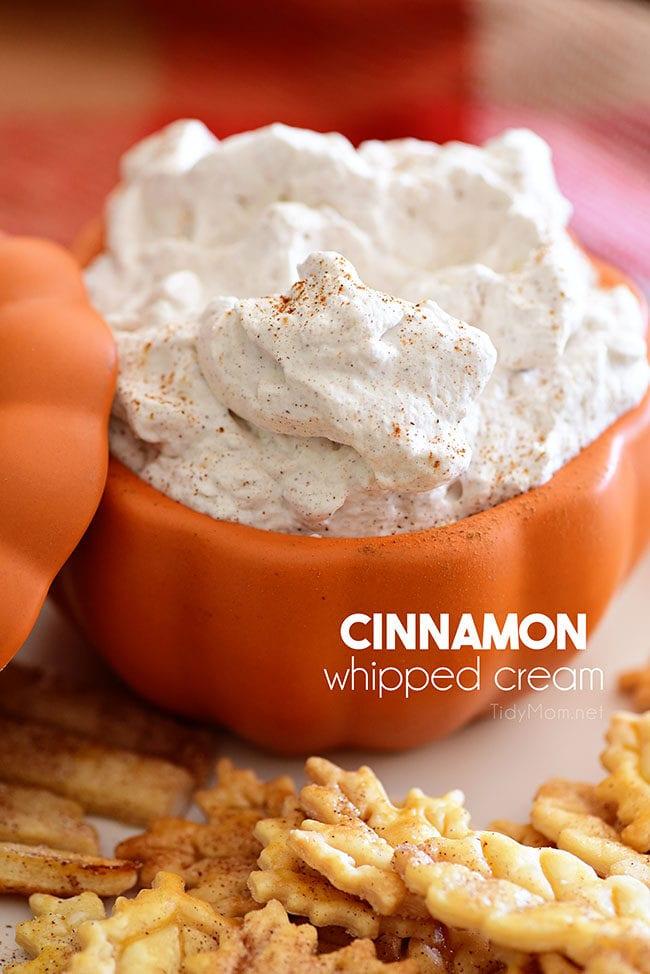 cinnamon whipped cream in orange bowl