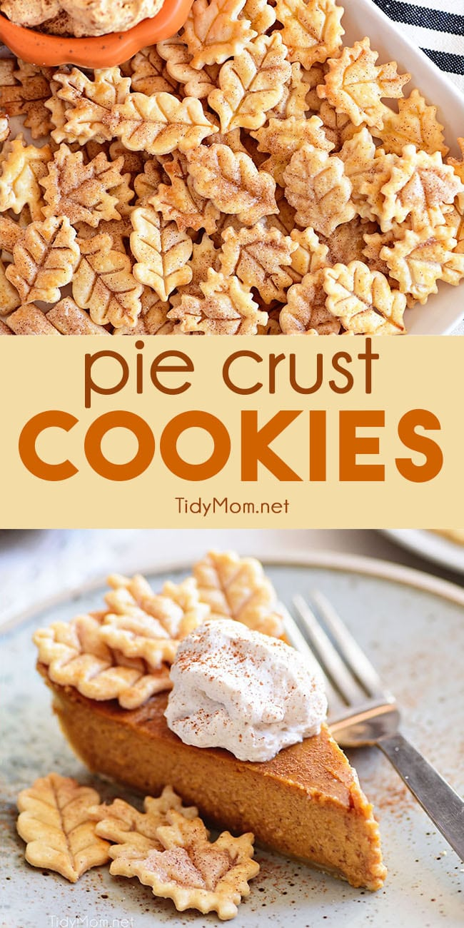 Pie Crust Cookies are so flaky and delicious you can't eat just one! Don't throw away those pie crust scraps, use them to make cinnamon and sugar cookies! Perfect for snacking,  dipping in your favorite dessert dip or enjoy atop your favorite pie. They are by far the easiest cookies you can make! Print the full recipe at TidyMom.net #piecrust #cookies