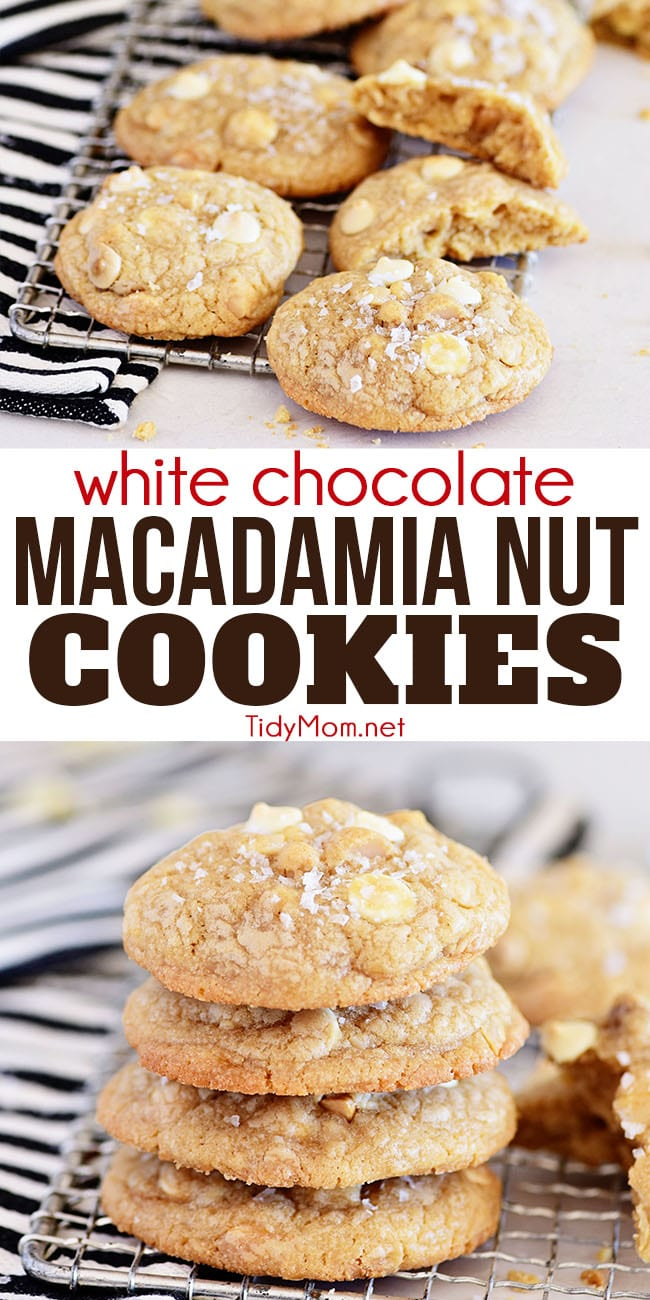 White Chocolate Macadamia Nut Cookies are thick and chewy with slightly crispy edges and soft centers. Loaded with chopped buttery macadamia nuts, white chocolate chips and a hint of almond, it's no wonder they always disappear fast. Printable recipe at TidyMom.net #cookies #whitechocolate #whitechocolatecookies #holidayrecipes #holidaycookies #christmascookies