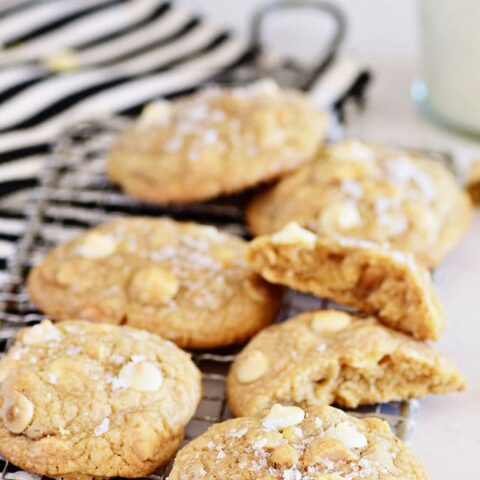 White Chocolate Macadamia Nut Cookies with a glass of milk
