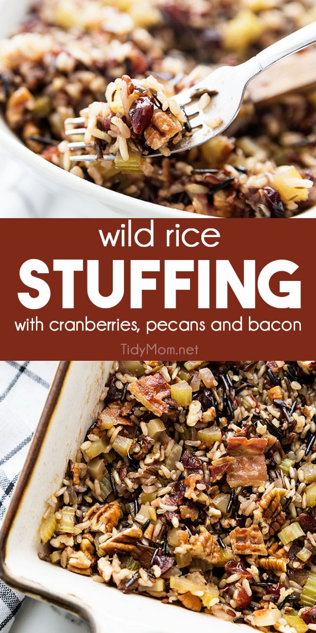 Wild rice stuffing is an easy side dish infused with incredible flavor that will complete your holiday table. Dried cranberries add a touch of sweetness to the nutty taste of this bread-less stuffing with all the classic flavors of a traditional stuffing. Printable recipe + how to video at TidyMom.net #stuffing #wildrice #dressing #glutenfree #thanksgiving #sidedish