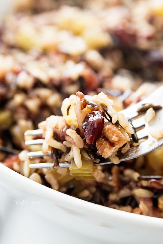 wild rice stuffing on a fork