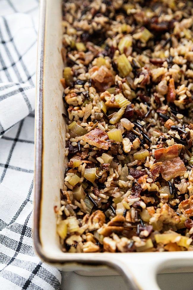 gluten-free wild rice stuffing in baking dish