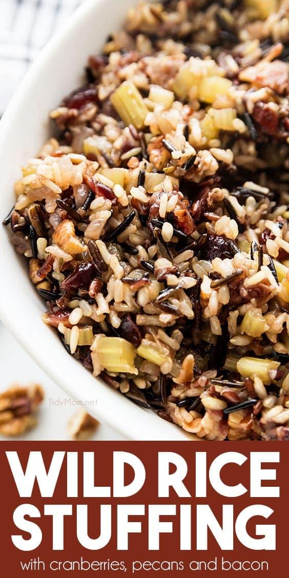 gluten-free wild rice stuffing in bowl