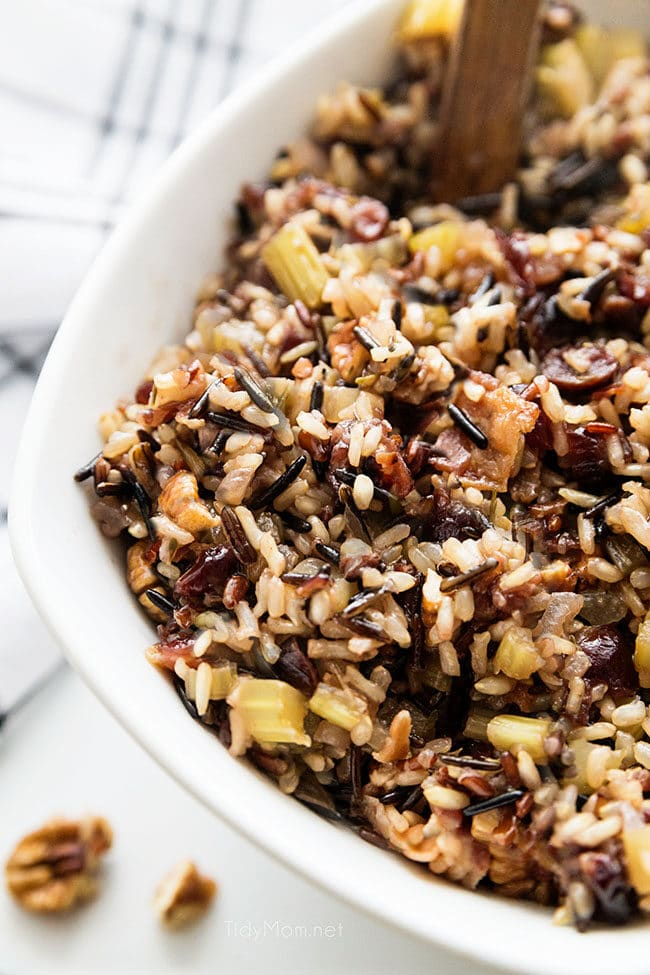 wild rice stuffing in a serving bowl