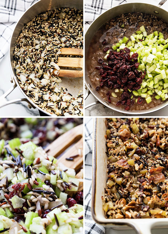 visual steps of how to make wild rice stuffing