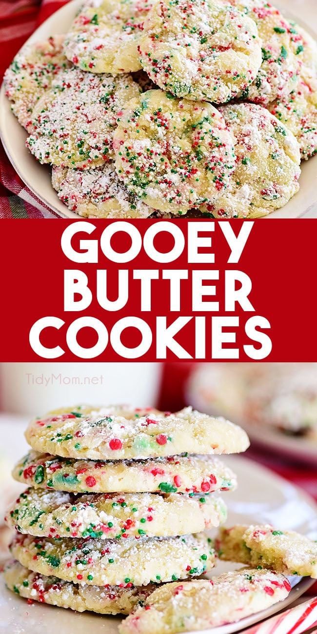 These easy Gooey Butter Cookies are a Christmas cookie twist on the favorite St. Louis Gooey Butter Cake. These melt in your mouth cookies are soft and totally irresistible! Roll them in Christmas sprinkles and they are ready for Santa! Find the printable recipe at TidyMom.net #cookies #christmascookies #holidaycookies #gooeybutter