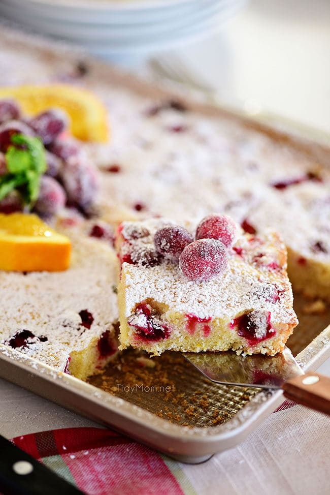 Piece of Super moistCranberry Orange Cake being removed from pan
