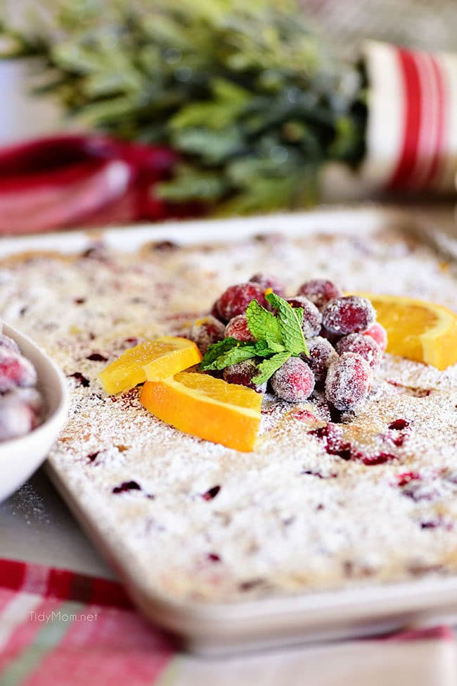 Cranberry Orange Cake topped with fresh oranges and sugared cranberries