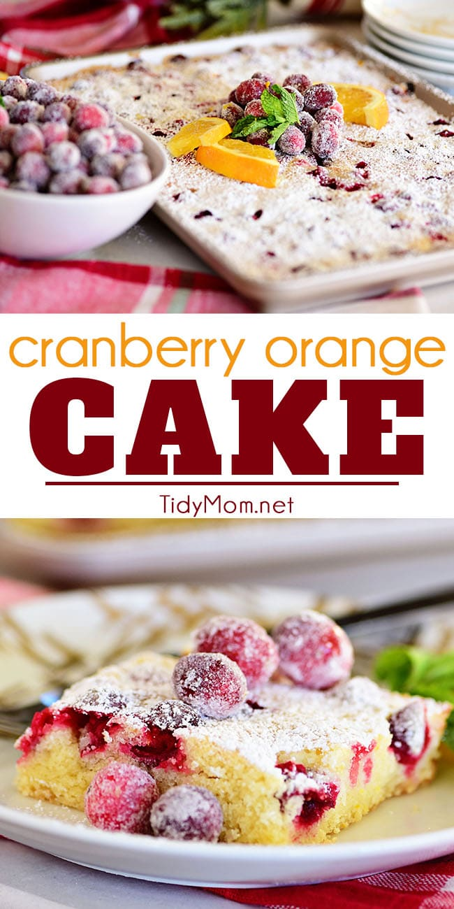 Super moistCranberry Orange Cake bursting with fresh tart cranberries and sweet oranges is full of holiday flavors. Topped with powdered sugar and sparkling cranberries makes it a welcome addition to any Christmas table! Printable recipe at TidyMom.net #cake #cranberry #orange #Christmascake #christmas #holiday #dessert