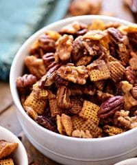 Spiced chex mix in a bowl