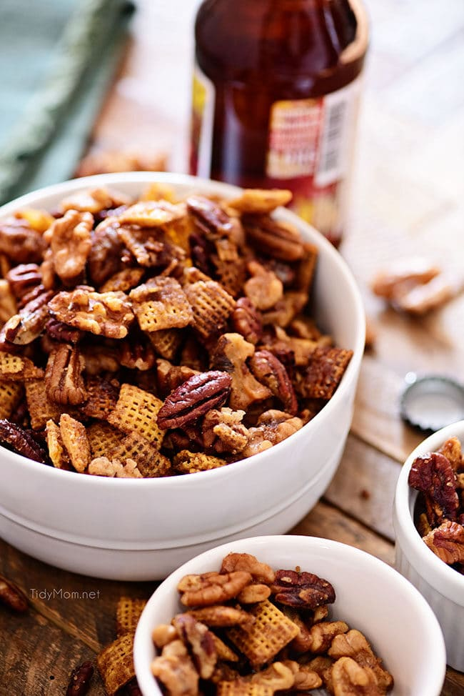 crock pot chex nut mix in a bowl