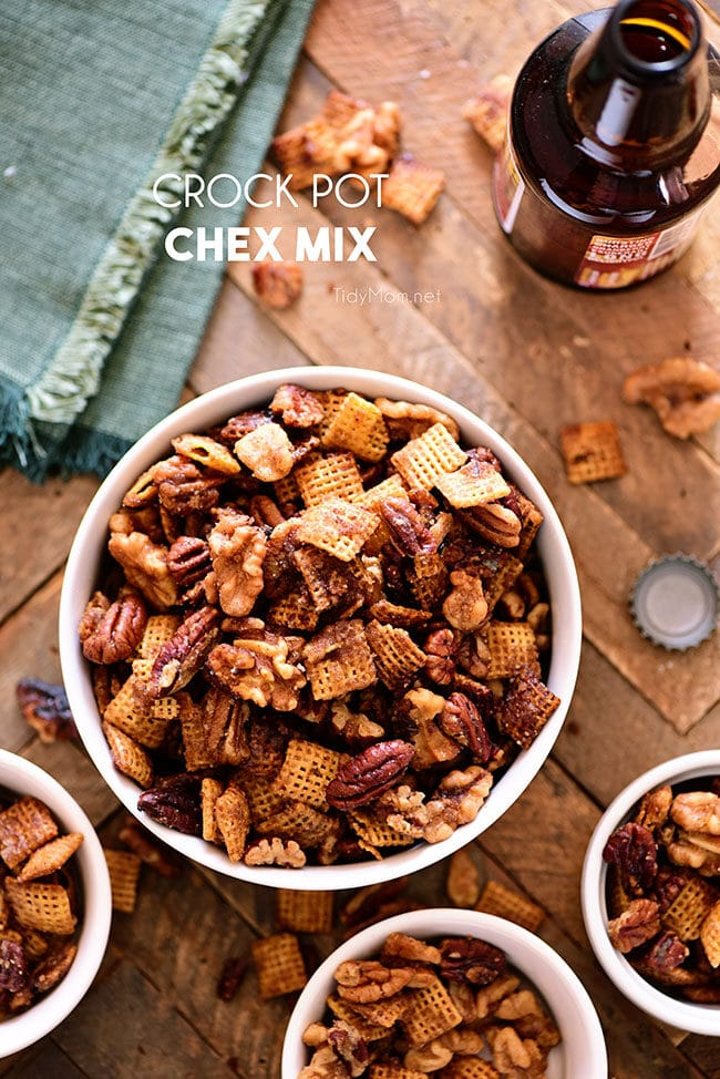 crock pot chex mix in a bowl