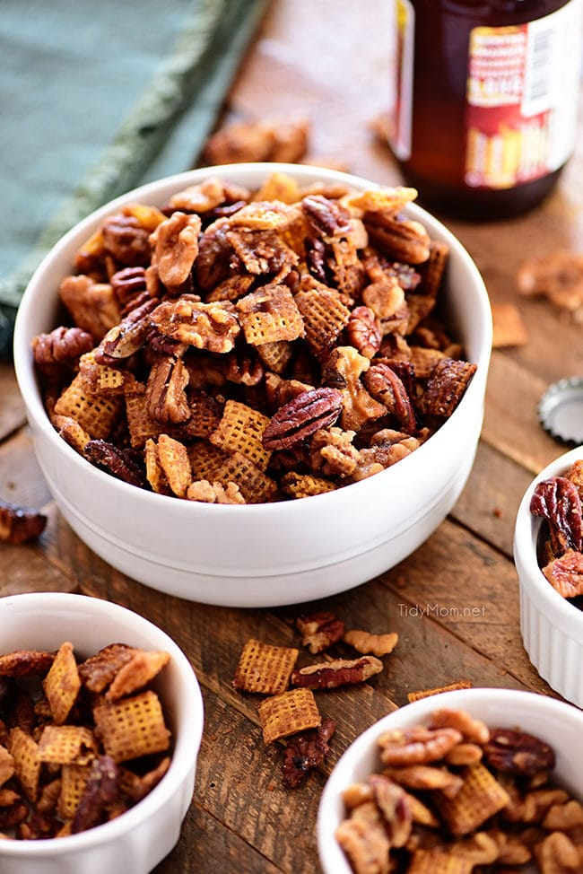 crock pot chex mix in a white bowl