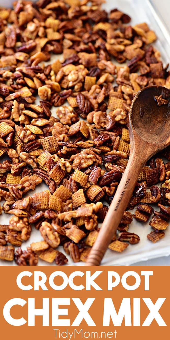 crock pot chex nut mix on a pan