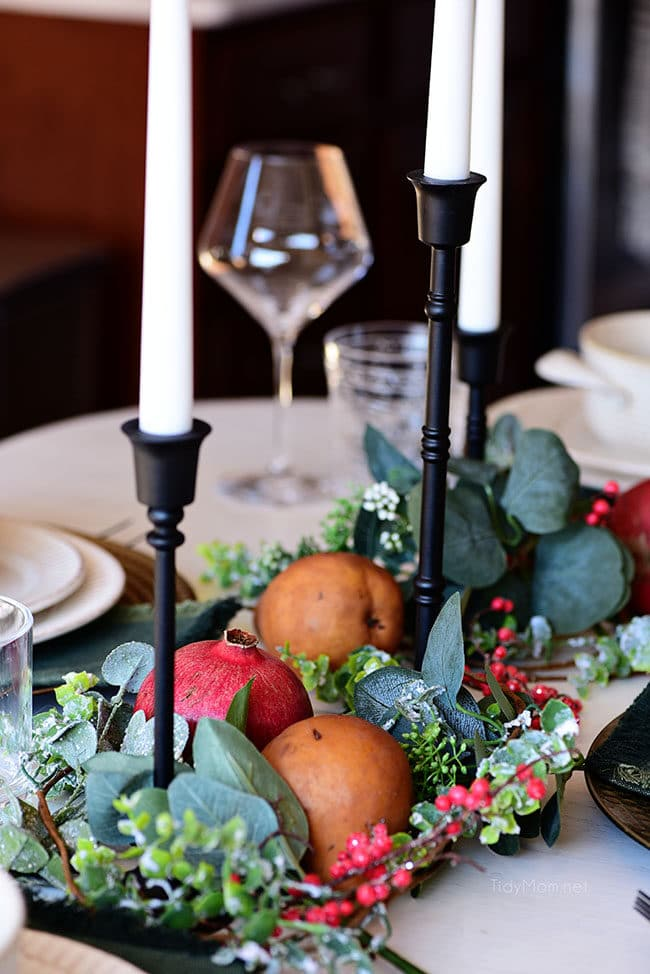 simple Christmas centerpiece with fresh fruit