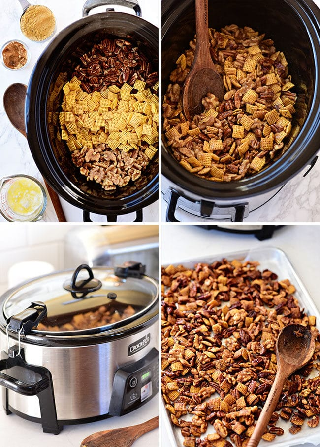how to make Chex mix in a slow cooker photo collage