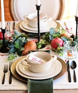 White and green Christmas table place settings