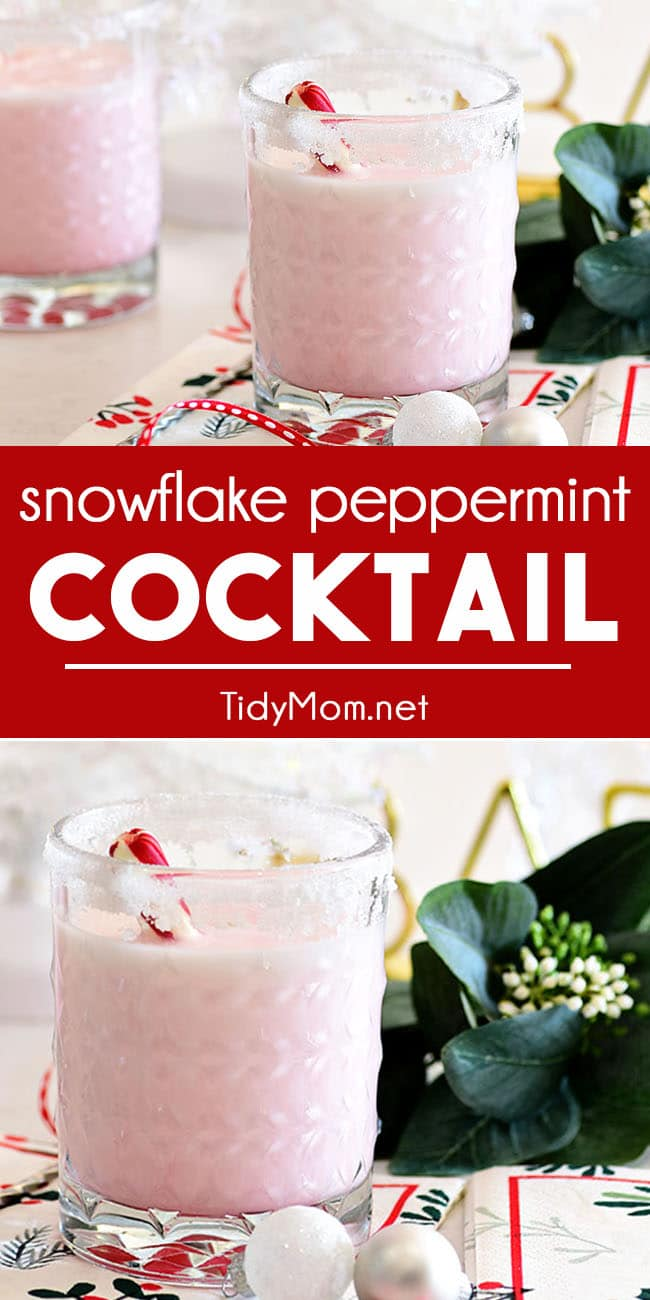 Celebrate the season with this creamy and festive Snowflake Peppermint Cocktail. It's the perfect winter cocktail to make all of your dreams of a white Christmas come true! Printable recipe at TidyMom.net #cocktail #drinks #vodka #schnapps #peppermint