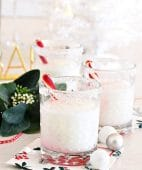 Three snowflake peppermint cocktails