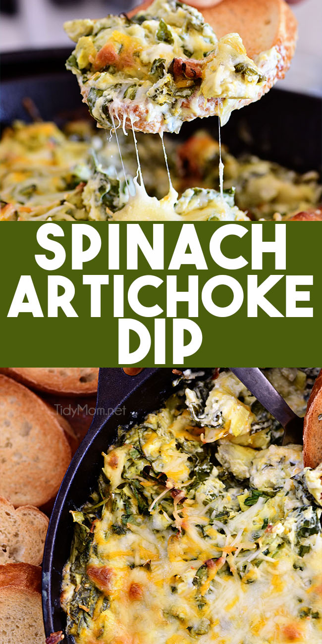 This classic Spinach Artichoke Dip is an easy crowd-pleasing appetizer recipe that's loaded with flavor. Served right from the oven, it's creamy, cheesy, and the ultimate party food for the holidays and game day! #spinachdip#diprecipe #recipe #appetizer #artichoke #spinach #cheese #dip #gameday