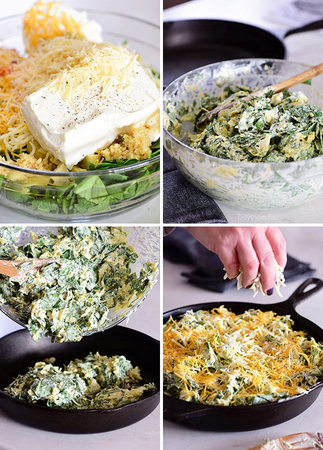 step by step photos for making spinach dip