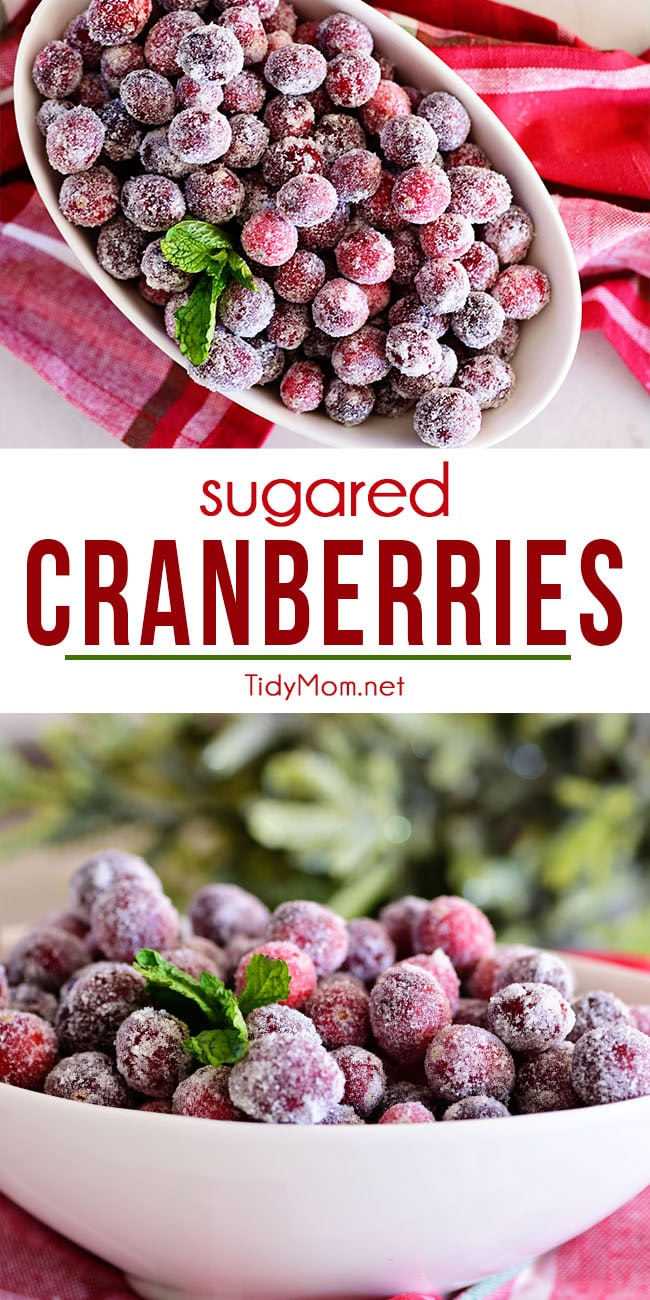 Sugared Cranberries are easy to make with only 2 ingredients and add a sparkly, red festive flair to any table! Not only are they a delicious sweet and tart snack, but they make a wonderful garnish for holiday cocktails and desserts. Get the printable recipe at TidyMom.net #cranberry #cranberries #snack #garnish #holiday #christmas